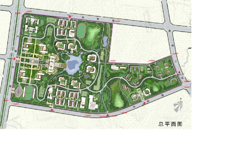 """核心型布局也是非常常见的一类大学校园空间结构形式,其主要特征是有一非常明确的内聚性很强的校园中心区域,其他建筑元素围合它而存在,形成一种内向型的大学校园空间。校园的中心区可以是校园标志性建筑、建筑群、集中绿化、水体和广场等要素,诸多建筑及环境要素围绕校园核心呈放射状或环抉布置, 有的学者将中心环境以绿化为主的核心型空间结构称为""""绿心型""""结构。这类校园布局中』合明确、环境统一、条理性强,容易形成校内环形交通,有利于人车分流和保持校园环境的安静,但在使用时应注意采用丰富的手法来打破单一"""